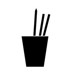 silhouette cup pencils pens utensils working vector image