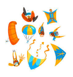 Skydivers flying with parachutes and hang gliders vector