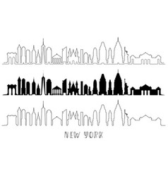 skyline with historic new york architecture vector image