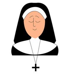 sleepy nun on white background vector image