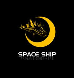 Space ship logo outline version vector