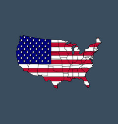 United states america map with flag vector
