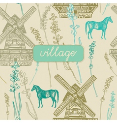 Village Windmill pattern background vector