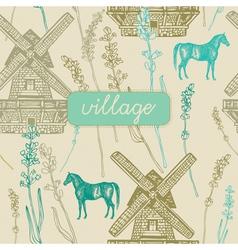 Village windmill pattern background vector