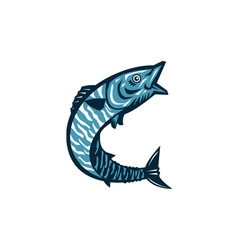 Wahoo Fish Jumping Isolated Retro vector