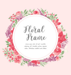 Watercolor floral frame beautiful wreath vector