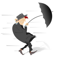 windy and rainy day and the man isolated vector image