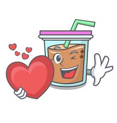 With heart bubble tea mascot cartoon vector