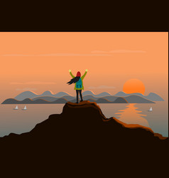 woman stands at the top of the mountain happily vector image