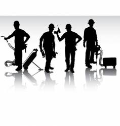 workers with different tools vector image