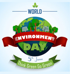 world environment day 5th june with red and green vector image