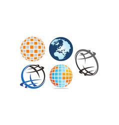 world logo template set vector image