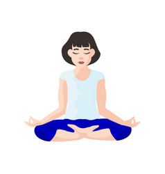 yoga asana woman health care fitness sport vector image
