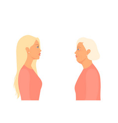 Young and old woman look at each other in the vector