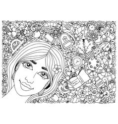 zentangl schoolgirl in a vector image