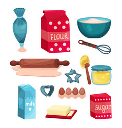 bakery set equipment and food ingredients for vector image
