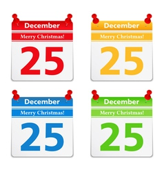 Calendar Pages with 25 December vector image vector image