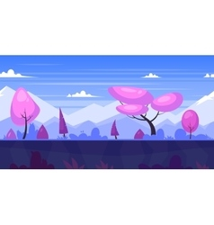 Cartoon nature seamless landscape with trees and vector image
