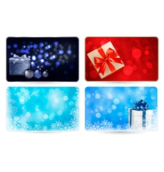 Set of cards with Christmas gift boxes and balls vector image vector image