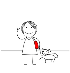 Stick figure girl with dog vector image