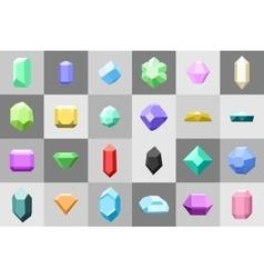 Flat icon set Diamond gemstones and stones in vector image