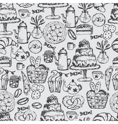 Hand drawn seamless pattern for kitchen theme vector image vector image