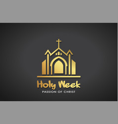 holy week gold logo template graphic vector image