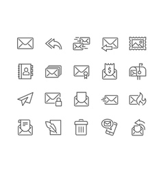 Line Mail Icons vector image