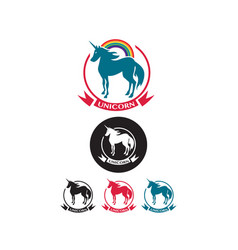 set of unicorn icons vector image