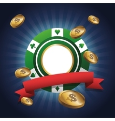 Chip and coins of casino design vector image vector image