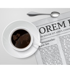 Coffee cup on newspaper vector image