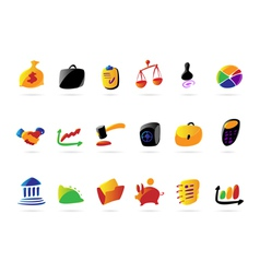 Colorful business finance and legal icons vector image vector image