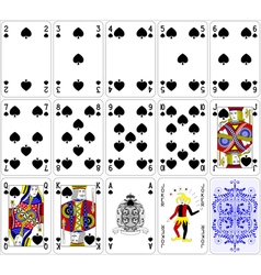 Poker cards spade set four color classic design vector image vector image