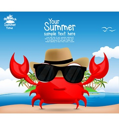 Summer background with a cute cartoon crab vector image vector image