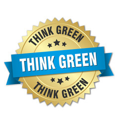 think green 3d gold badge with blue ribbon vector image vector image