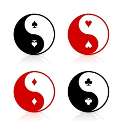 Yin-Yang symbols with card suits vector image vector image