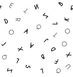 black letter seamless pattern on white background vector image vector image