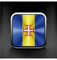 Metal square icon with flag colors of Madeira vector image