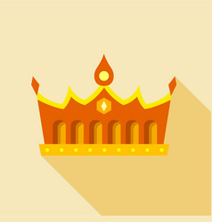 Royal gold crown icon flat style vector