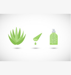 aloe vera gel flat icons set vector image