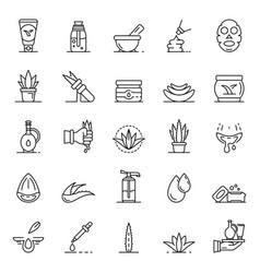 aloe vera icon set outline style vector image