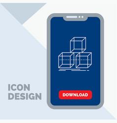 Arrange design stack 3d box line icon in mobile vector