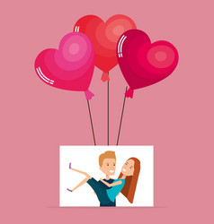 balloons helium with lovers couple avatars vector image