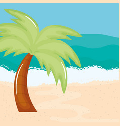 Beach seascape with trees palms summer scene vector