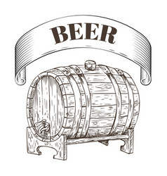 beer storage wooden barrel vector image