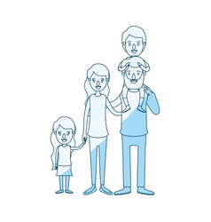 Blue silhouette shading caricature big family vector