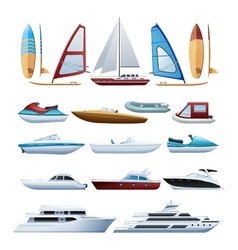 Boats And Windsurfer Flat Icons Set vector