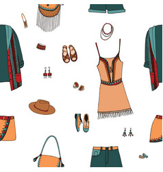 bohemian fashion style seamless pattern boho and vector image