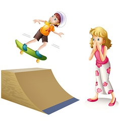 Boy skateboarding on wooden ramp vector image