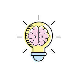 Bulb with brain inside to creative design vector
